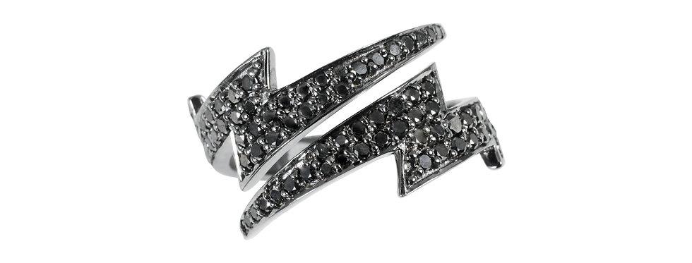 Anel Raio Diamantes Negros ouro 18k Ródio Negro