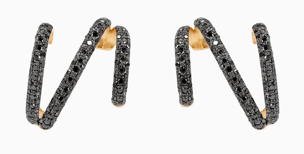 Brinco Hope Pequeno com Diamantes Negros em ouro Rose 18k