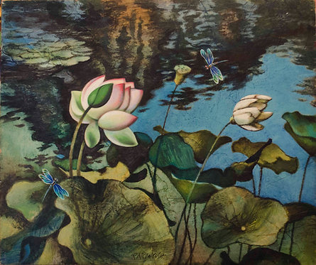 """Lotus and Dragonflies"""