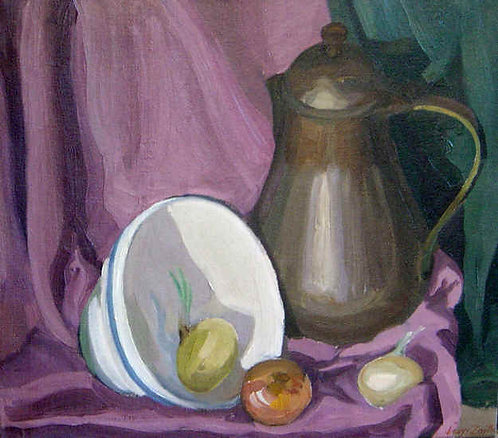 """Still LIfe in Pink with Pitcher and Onions"""