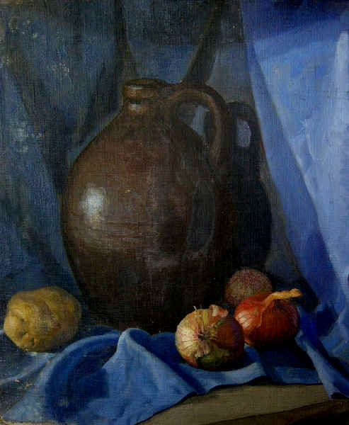 """Still Life in Blue with Jug and Onions"""