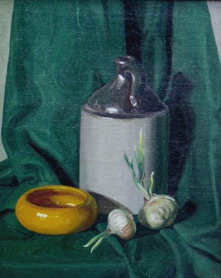 """Still Life in Green with Jug, Bowl and Garlic"""