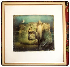 The Wall, faux tintype print, mixed media