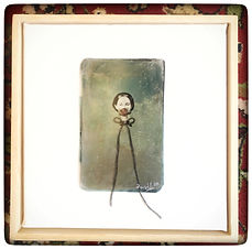 Silence, faux tintype, mixed media