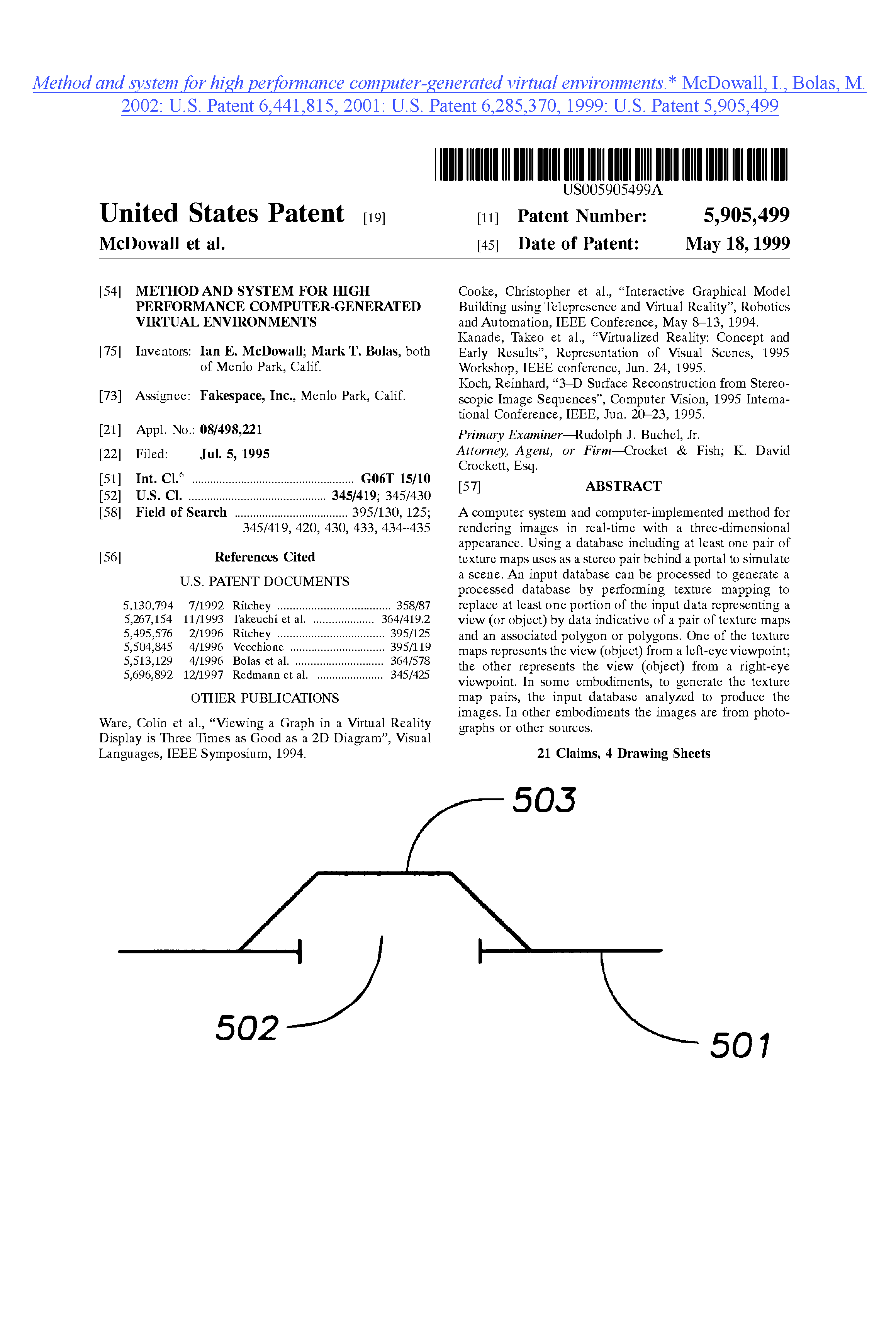 Method and system for high performance computer-generated virtual environments.5905499_TOP SHEET.png