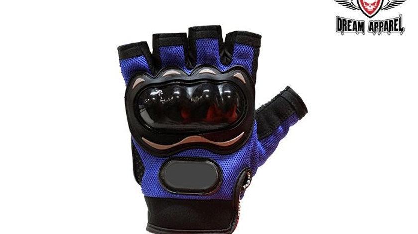 Blue Mesh Fingerless Racing Gloves