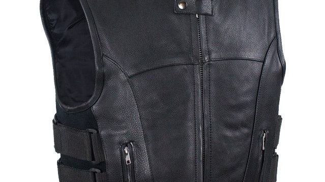 Mens Motorcycle Leather Vest With Neoprene Sides