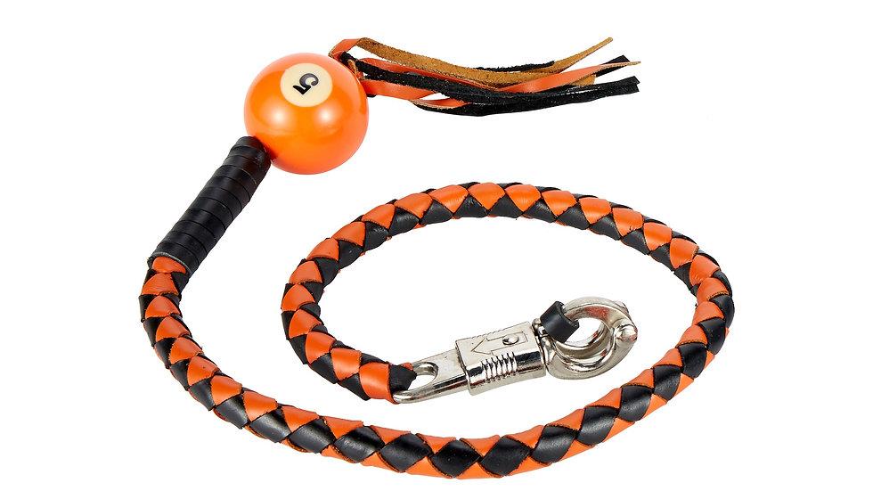 Black And Orange Fringed Get Back Whip W/ Pool Ball