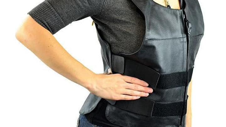 Women's Bullet Proof Style Leather Vest