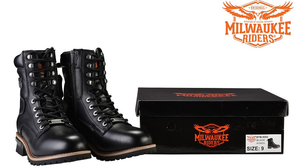 Men's Leather Motorcycle Boots Zipper And Lace-Up By Milwaukee Riders
