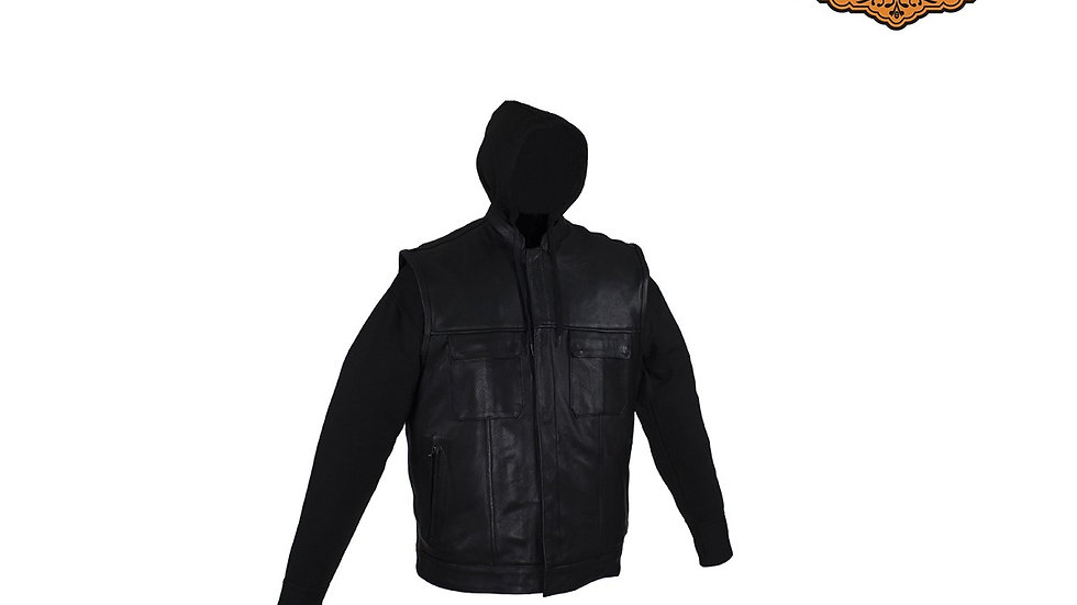 Black Concealed Carry Vest with Removable Black Hoodie