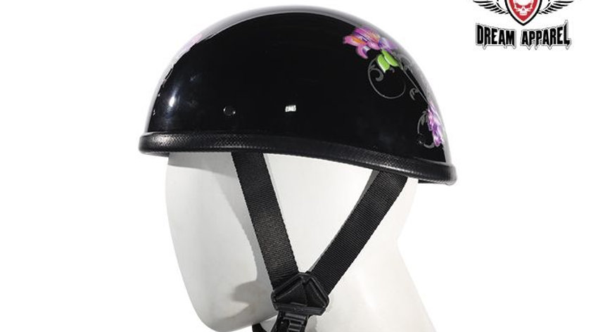Womens Classic Eagle Style Novelty Helmet With Purple Rose Tribal Design