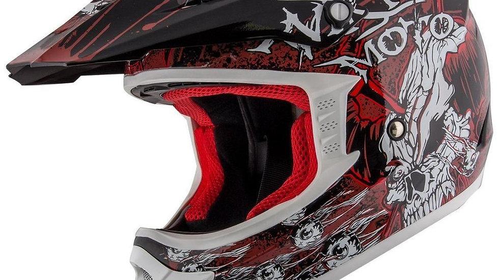 Do Or Die' Matte Black and Red Finish Motocross Helmet