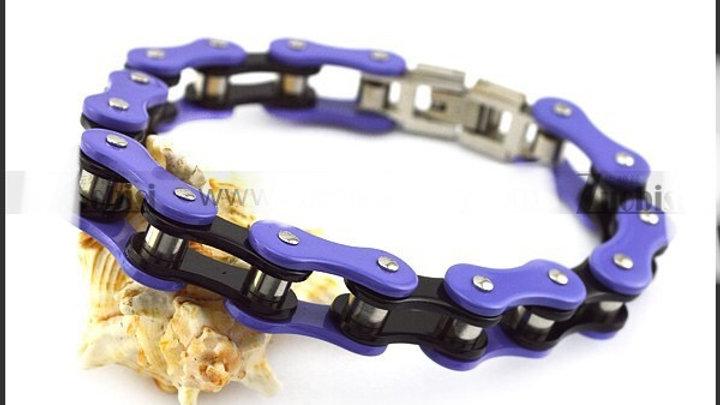 Purple and Black Biker Bracelet