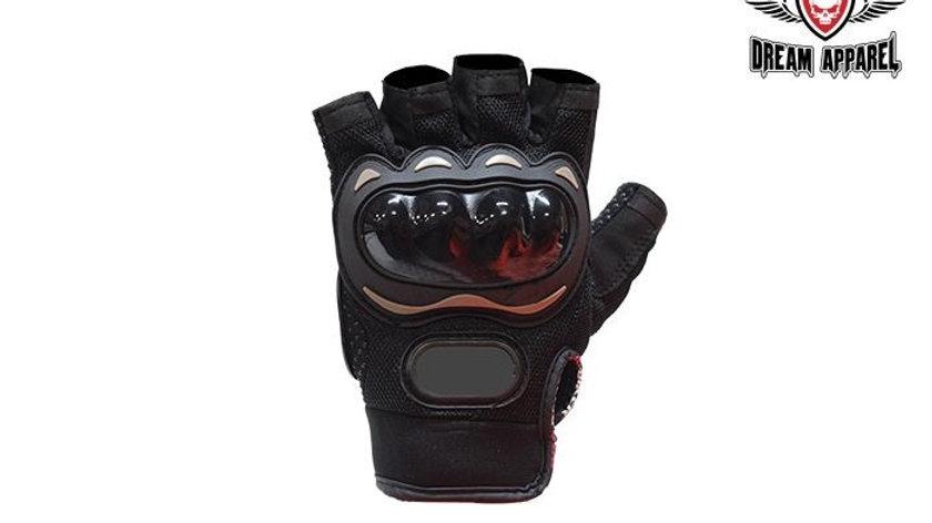 Black Fingerless Mesh Racing Gloves