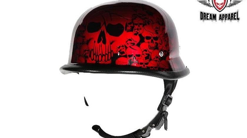 Burgundy Skull Graveyard German Novelty Helmet