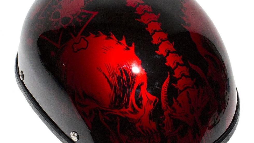 Shiny Burgundy Motorcycle Novelty Helmet with Horned Skeletons