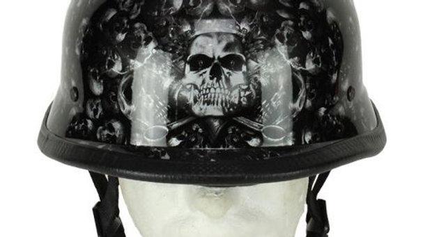 Grey Shiny Skull Graveyard German Novelty Helmet