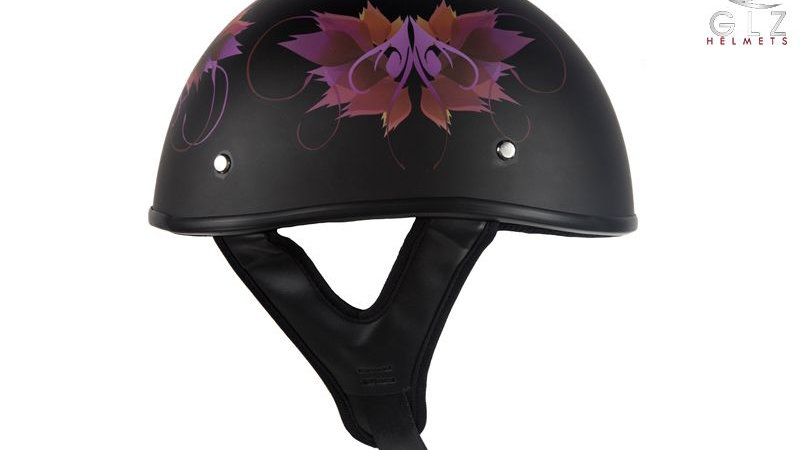 DOT Approved Low Profile Flat Black Motorcycle Helmet With Fairy & Flowers