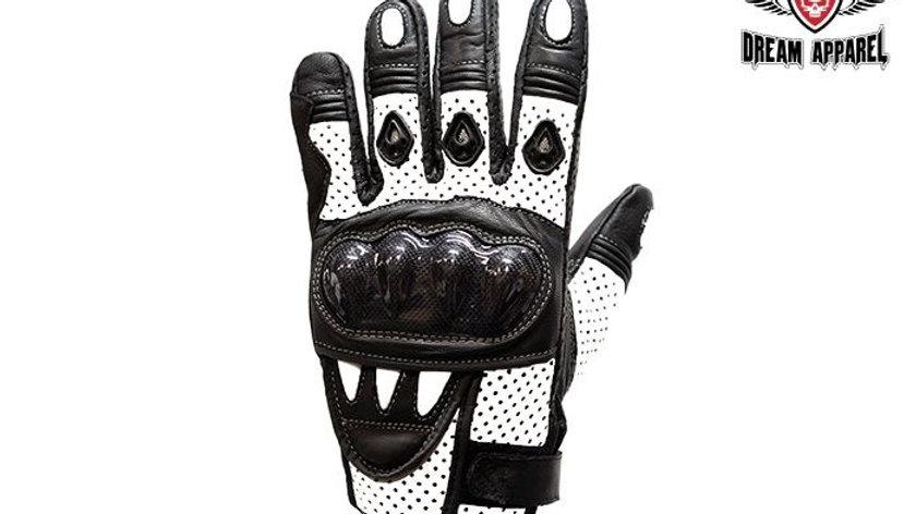 Mens Padded White Racing Gloves