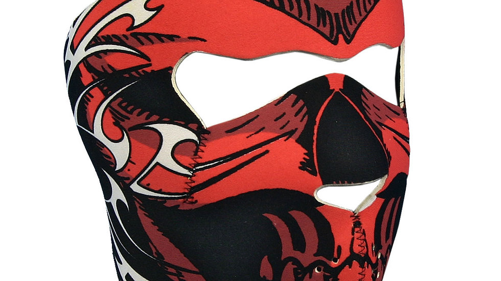 Red Skull Face Neoprene Motorcycle Face Mask - Lightweight facemask is stretch t