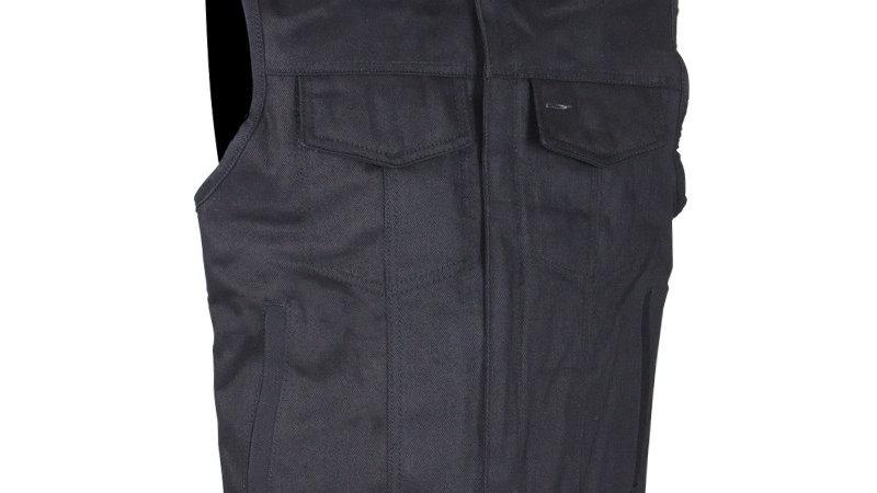Mens Black Canvas Motorcycle Vest