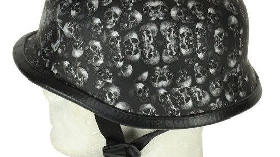 Grey Flat Skull Graveyard German Novelty Helmet