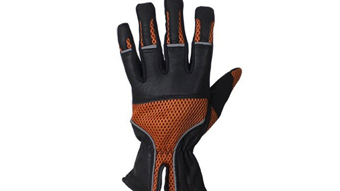 Orange Leather Riding Gloves