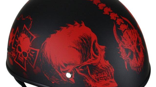 Flat Black DOT Helmet with Red Horned Skeletons