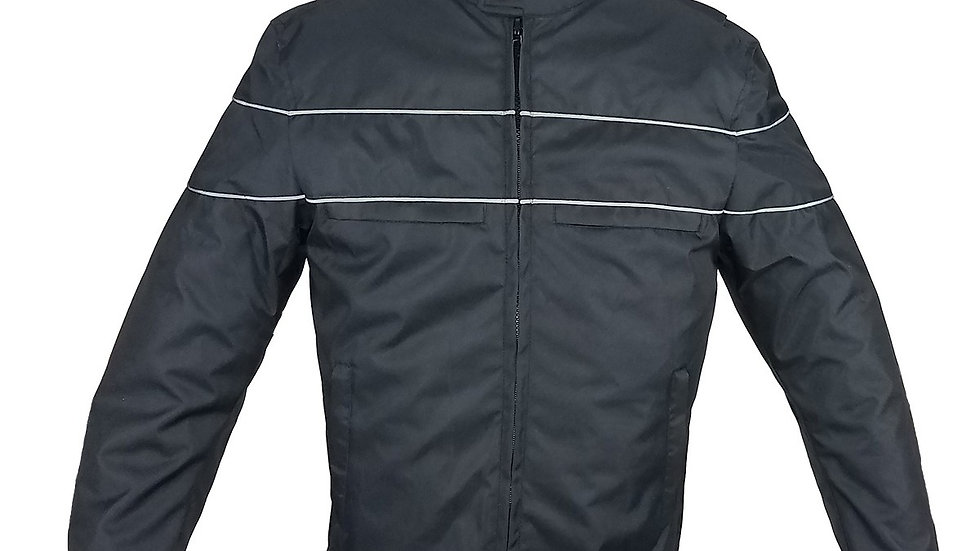 Men's Black Textile Racer Style Jacket