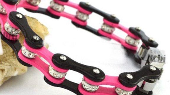 Diamond Pink and Black Biker Bracelet