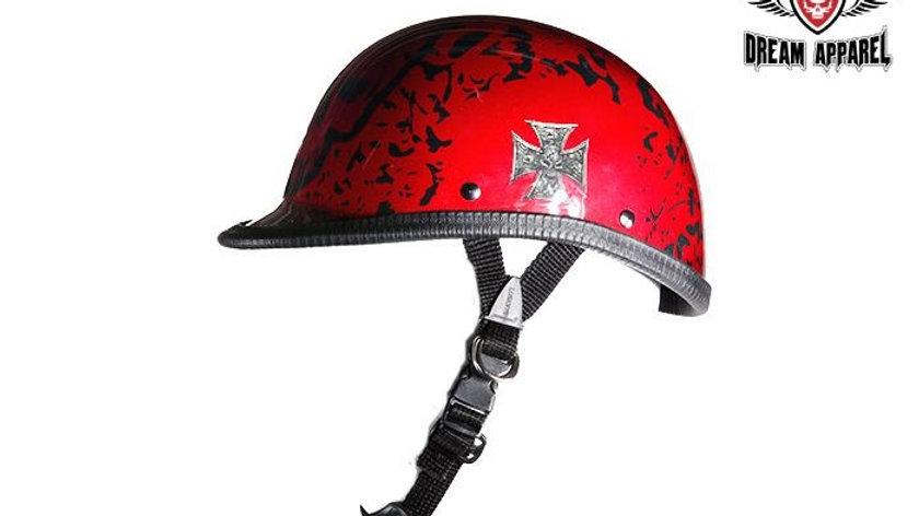 Shiny Burgundy Jockey Style Novelty Motorcycle Helmet W/ Boneyard Graphic