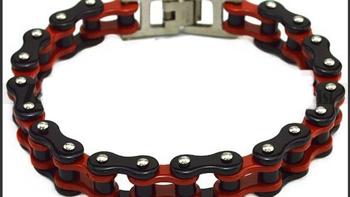 Red and Black Biker Bracelet