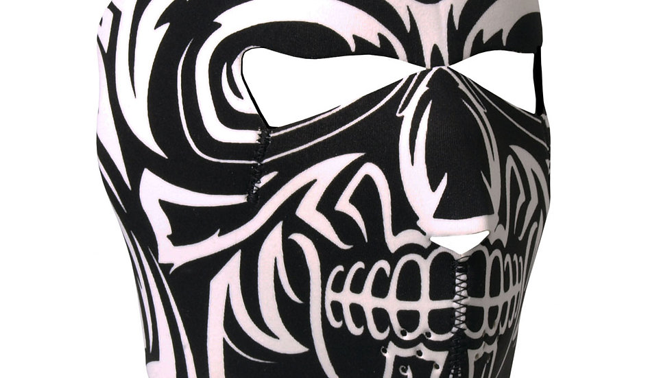 Black and White Skull Neoprene Motorcycle Face Mask - Lightweight facemask is st