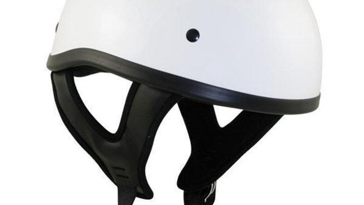 Outlaw T68 DOT White Glossy Motorcycle Skull Cap Half Helmet