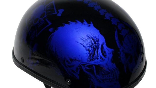 Shiny Blue Motorcycle Novelty Helmet With Horned Skeletons