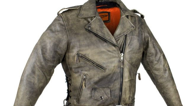 Distressed Brown Naked Cowhide Leather Motorcycle Jacket W/ Gun Pockets