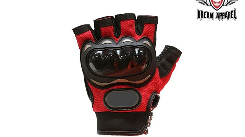Red Mesh Fingerless Racing Gloves