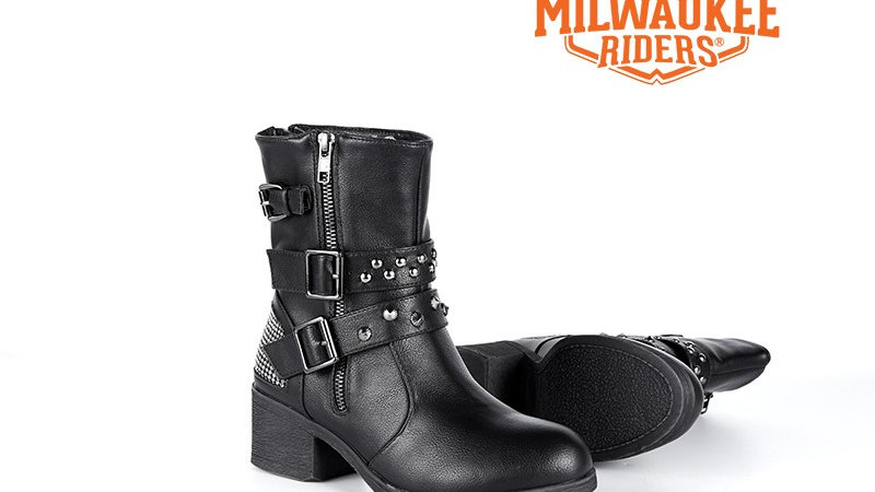 Ladies Zippered Black Multi-Studded Buckle Boots By Milwaukee Riders®