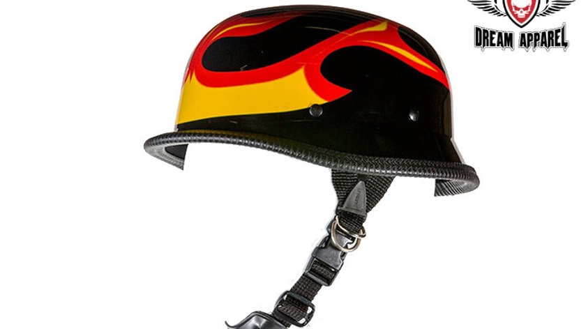 Shiny German Style Novelty Motorcycle Helmet W/ Flame Graphic