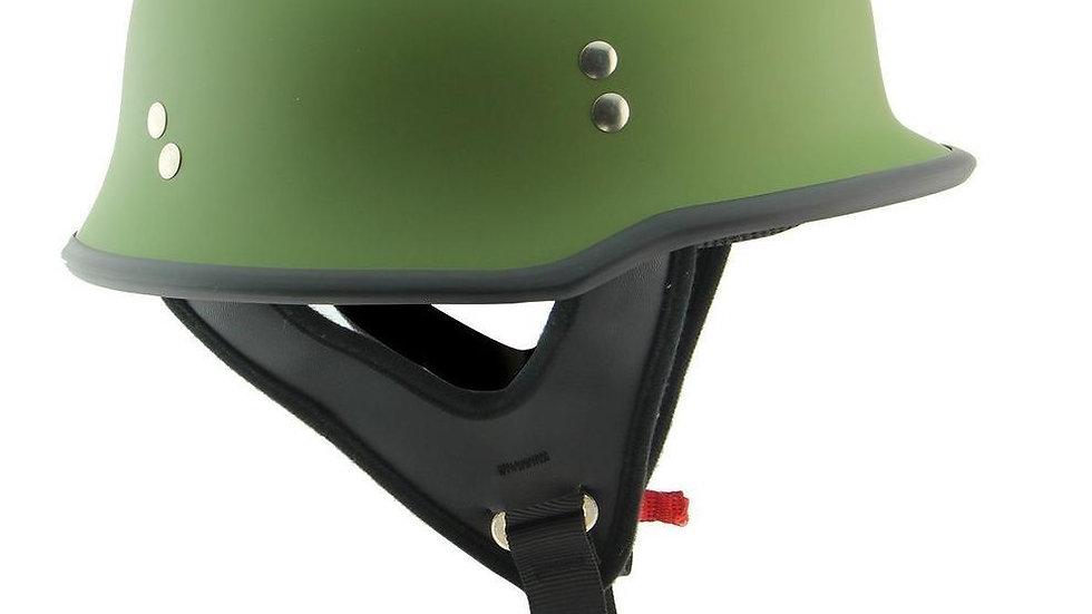 Outlaw German Style Flat Green Half Helmet