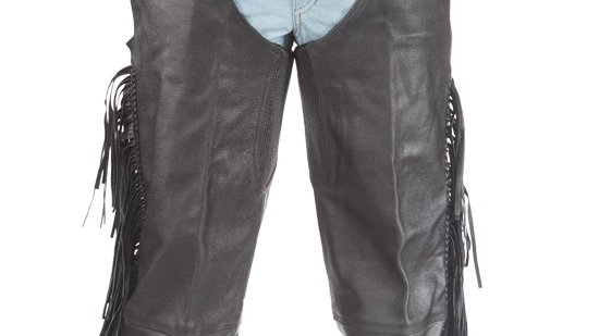 Biker Leather Chaps With Braid & Fringe