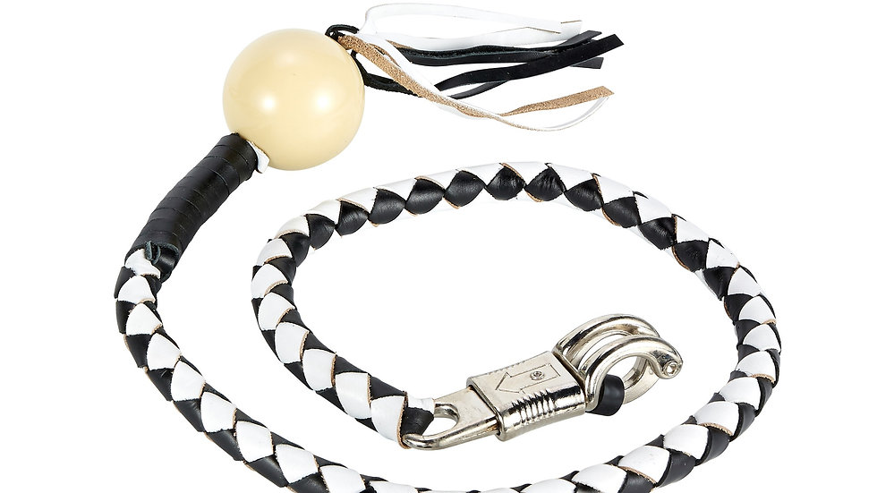 Black And White Fringed Get Back Whip W/ Pool Ball