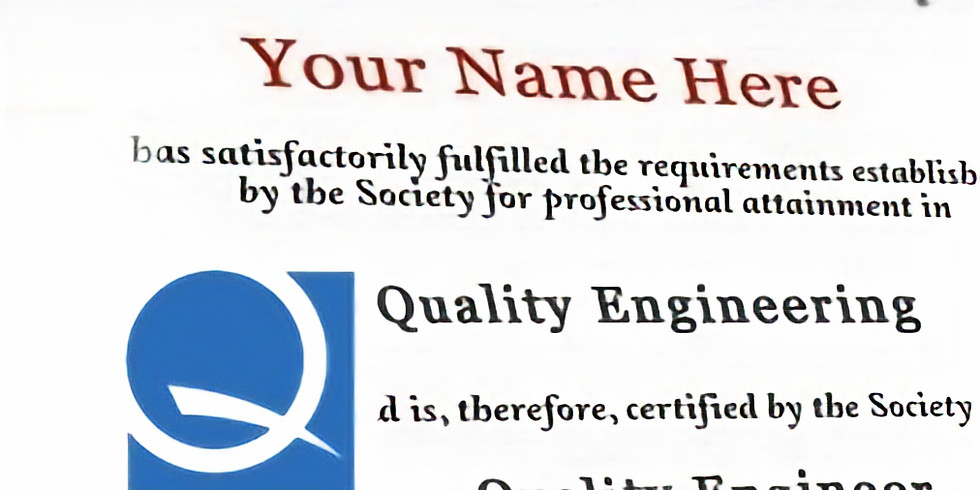 Preparatório para a certificação CQE (Certified Quality Engineer) da ASQ