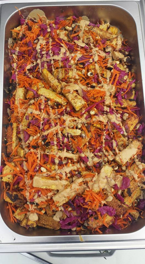 Tempeh at a wedding catering