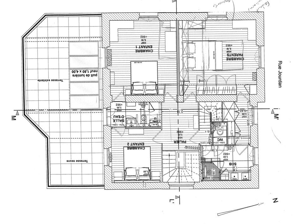 Avant - Plan de l'étage 1 existant
