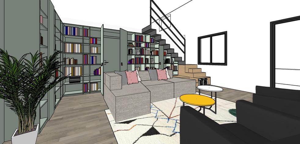 Aménagement villa   bibliothèque et escalier