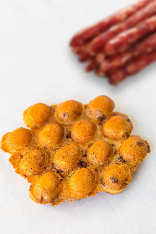 Savory Chinese Sausage Hong Kong Egg Waffle - 2 Pc Pack