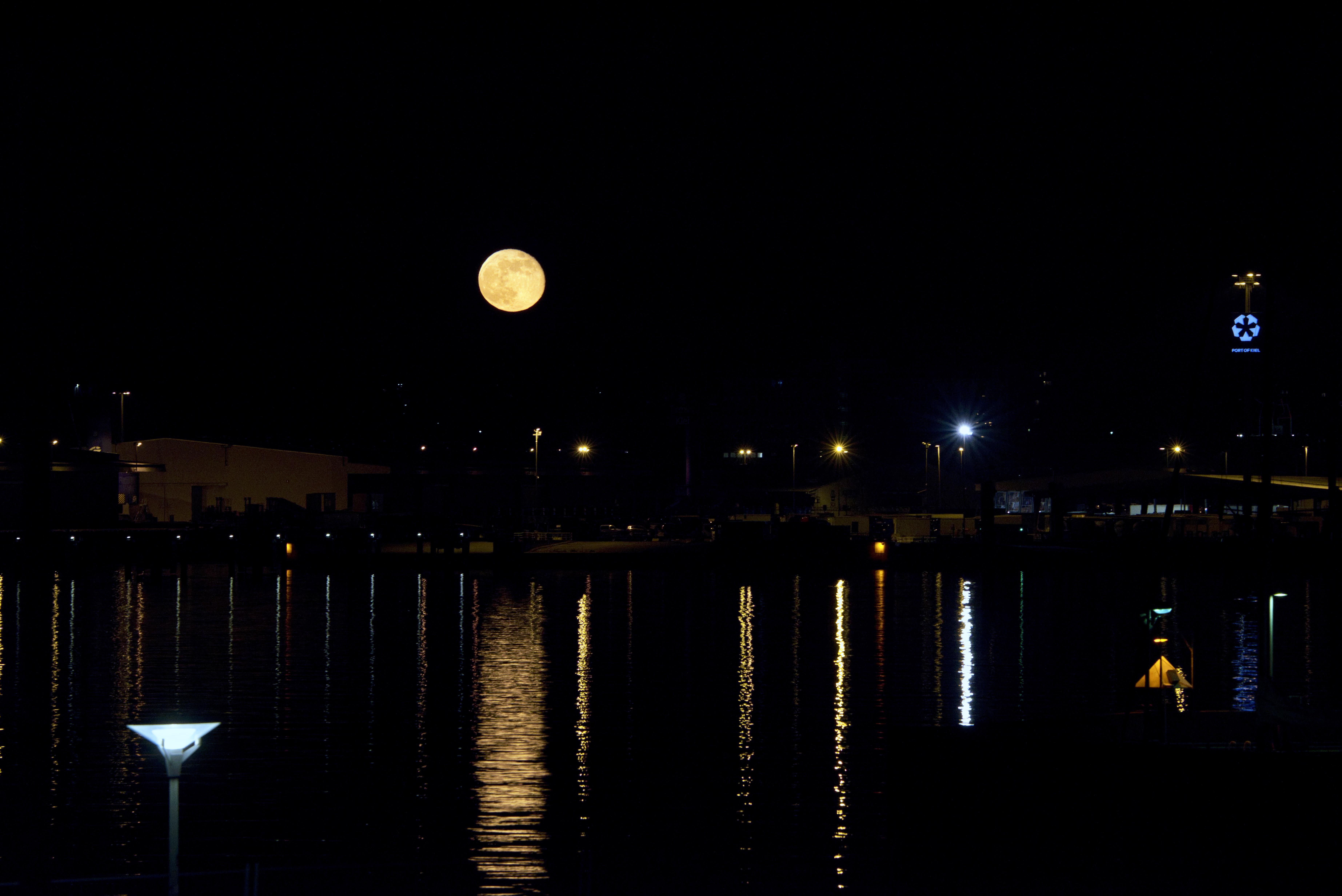 Moon over Kiel Fjord