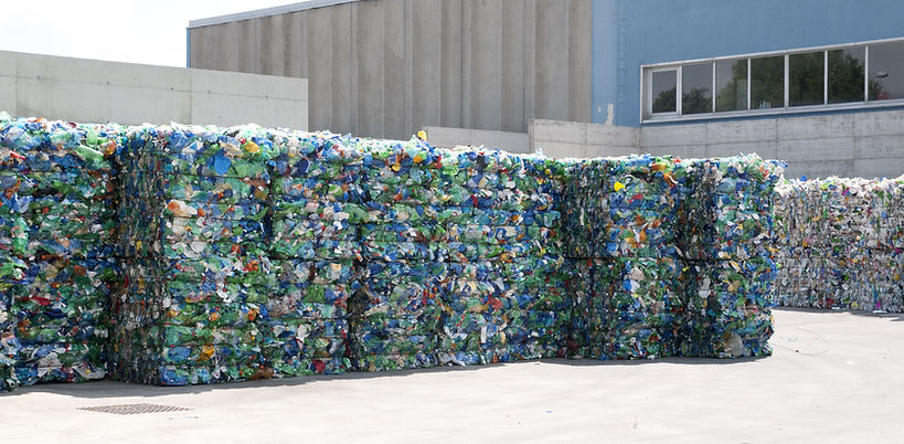 Plastic ready to be recycled in the yard